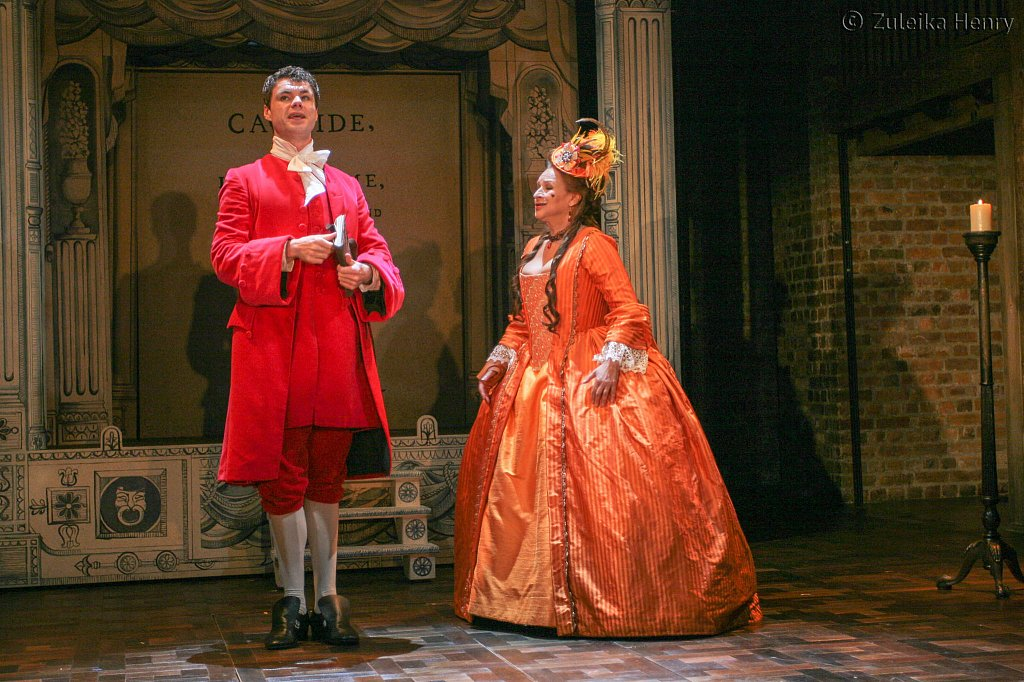 Ishia Bennison as Countess, Richard Goulding as Playwright and M