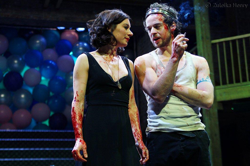 Pippa Nixon as The Bastard and Alex Waldmann as King John