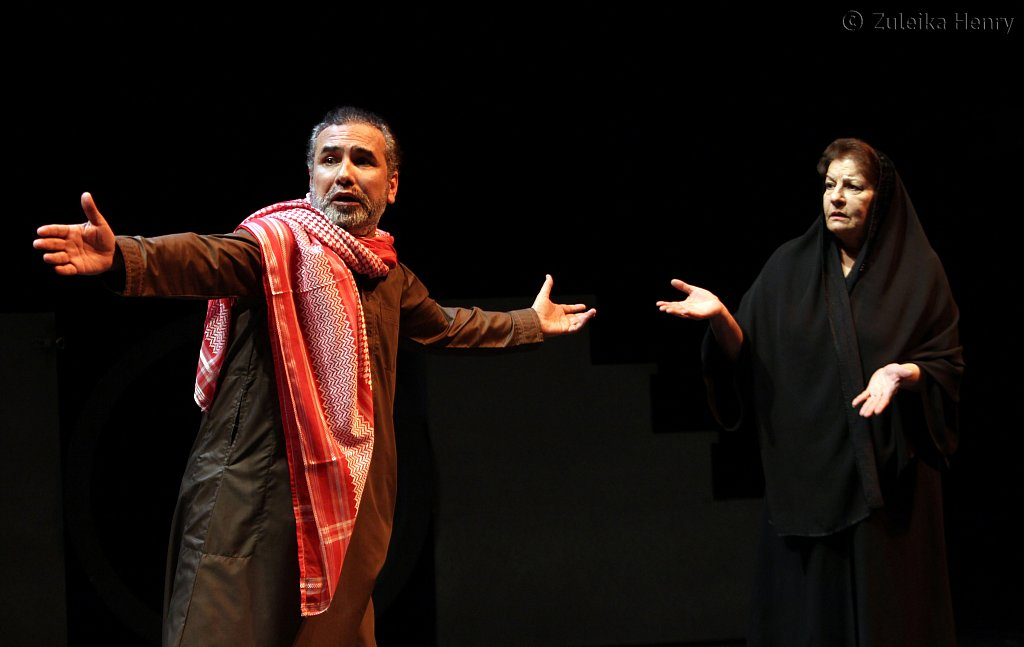 Haider Monathir as Lord Capulet and Marmoon al Khaldi as Lady Montaque