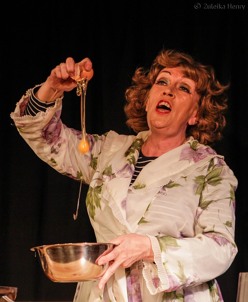 Kate McNab as Fanny Cradock in Fanny and John Cradock Cook The Great American Songbook by Sheila Hannonie