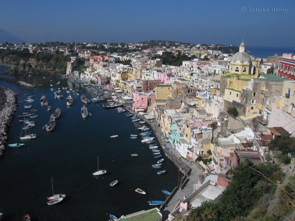View of the harbour Procida from the hill top