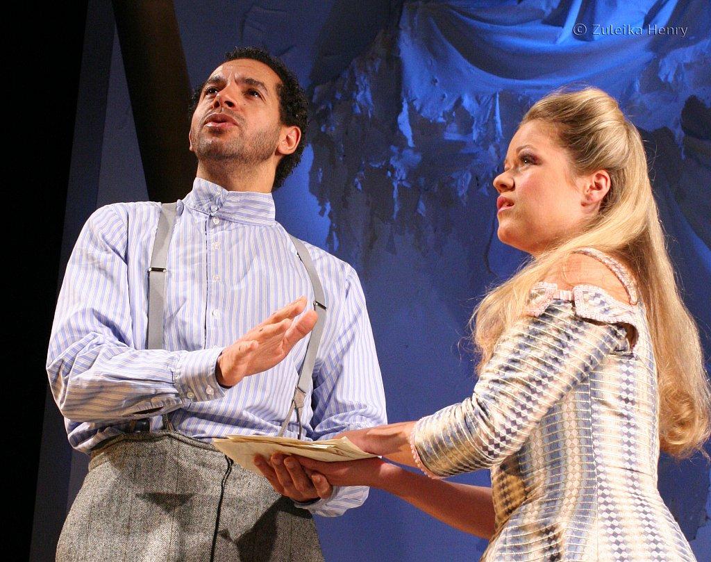 Joe Dixon as Antipholus of Syracuse and Sinead Keenan as Luciana