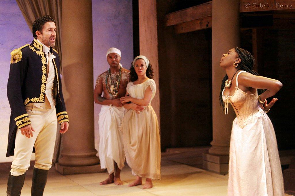 Jonathan Cake as Antony, Chivas Michael as Mardian, Charise Castro Smith as Iras and Joaquina Kalukango as Cleopatra