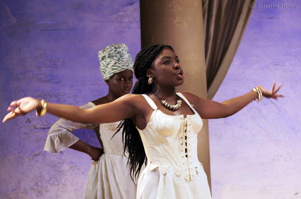 Sarah Niles as Charmian and Joaquina Kalukango as Cleopatra