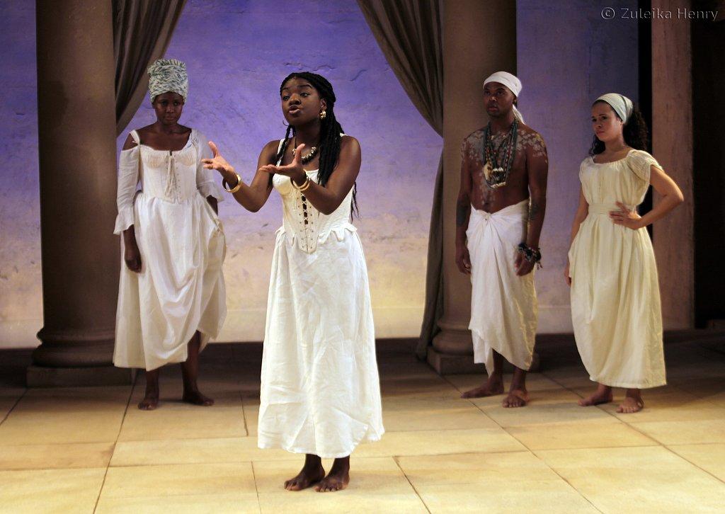 Sarah Niles as Charmian, Joaquine Kalukango as Cleopatra, Chivas Michael as Mardian and Charise Castro Smith as Iras
