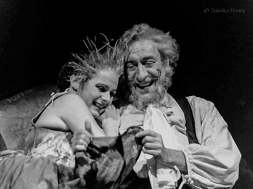 Joanne Pearce as Doll Tearsheet and Robert Stephens as Sir John Falstaff in Henry IV part 2 RSC 1991