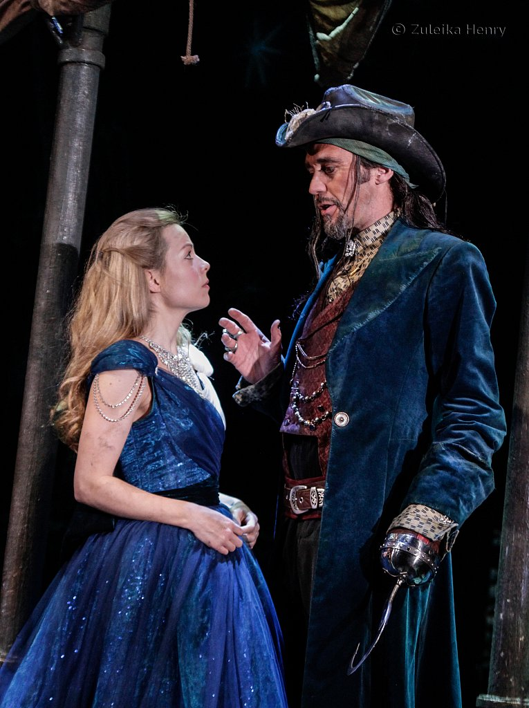 Fiona Button as Wendy and Guy Henry as Hook