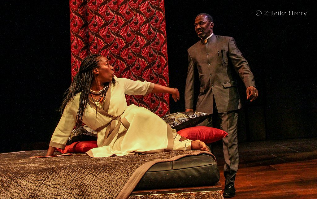 Tanya Moodie as Gertrude and Cyril Nri as Polonius
