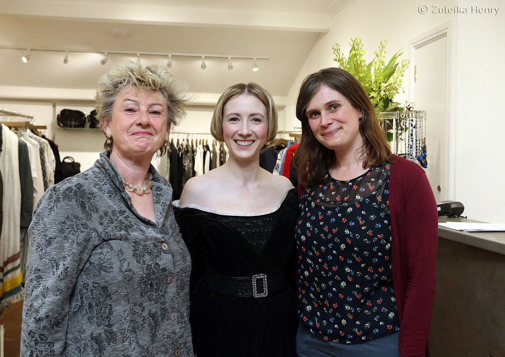 Launch party for Frankenstein in Bath with Annette Chown as Mary Shelley with Sheila Hannon and Kirsty Cox