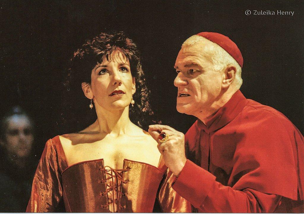 Jane Gurnett as Vittoria Corombona, a Venetian lady and Philip Voss as Cardinal