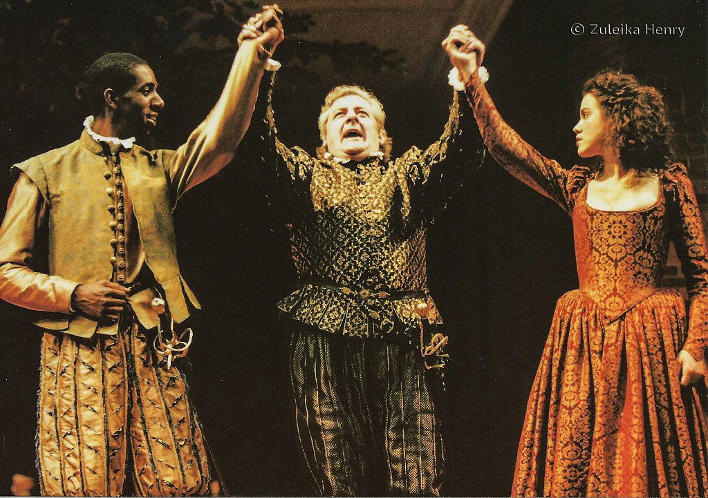 Rashan Stone as Count Claudio Peter Wight as Don Pedro and Eily Bruni as Hero 'Much Ado About Nothing' 1996