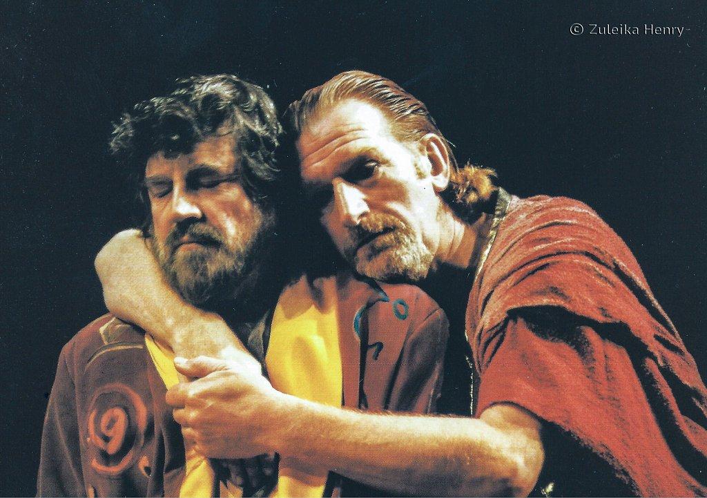 Alan Bates as Mark Antony and Malcolm Storry as Domitus Enobarbus 'Antony and Cleopatra' 1999