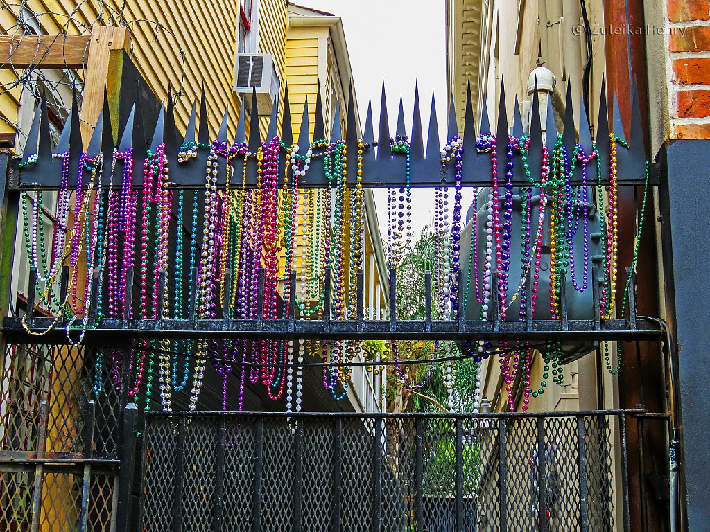 Colourful metalicbeads leftover from Mardi Gras