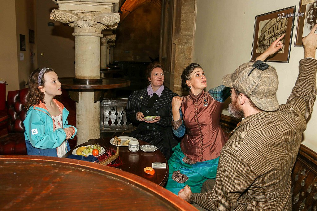 Rachael Fagan as Esme Smyth Kirsty Cox and Gerard Cooke as Lady Emily and Sir Greville Smyth