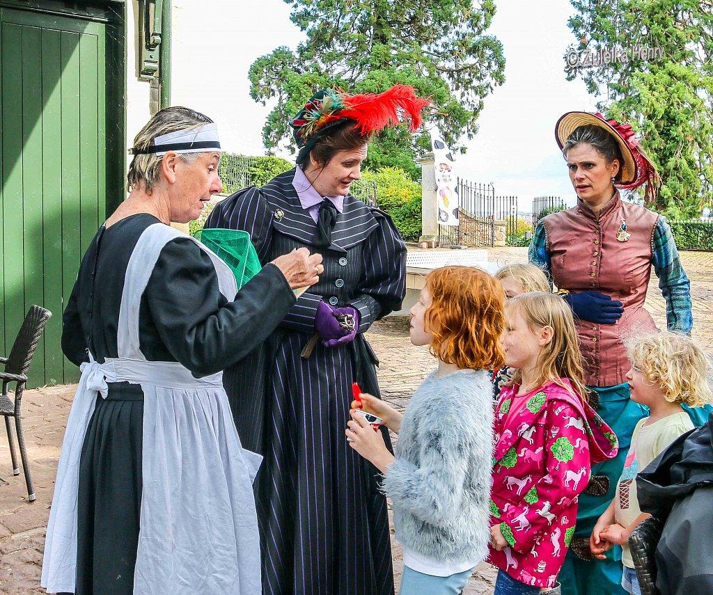 Rachael Fagan as Esme Smyth, Kirsty Cox as Dame Emily and Sheila Hannon as servant Kate