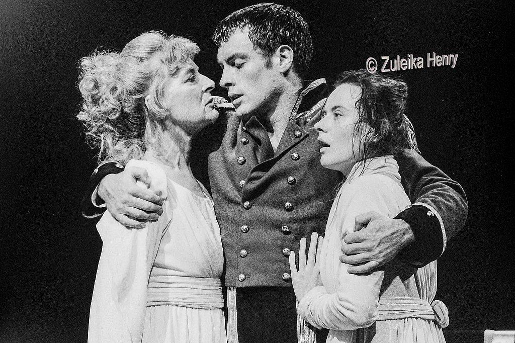 Toby Stephens as Coriolanus and Caroline Blakiston as Volumia andMonica Dolan as Virgilia
